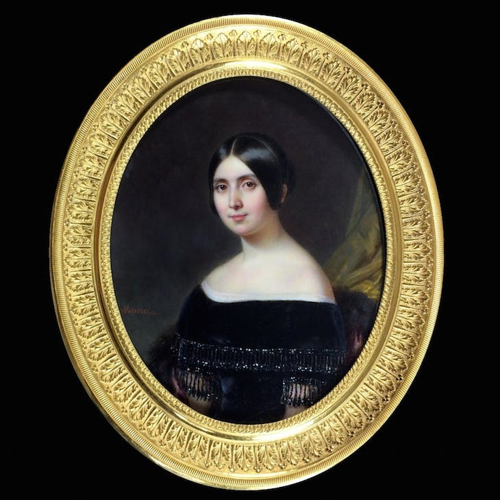 Portrait of young woman in black dress, embroidered with cannetilles and pearls, Meuret