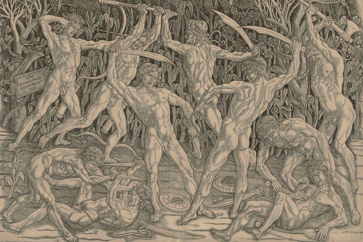 Battle of the Nudes (1470s), Antonio Pollaiuolo. The Albertina Museum, Vienna