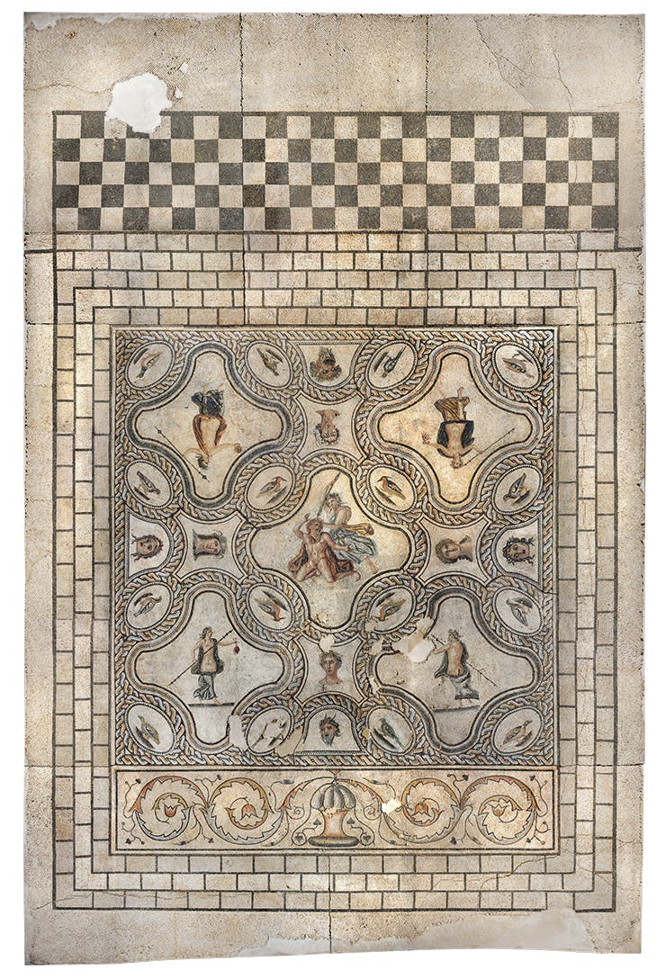 The 'Pentheus' mosaic (2nd century AD), excavated 2006–07 on the Avenue Jean Jaurès. Musée de la Romanité, Nîmes