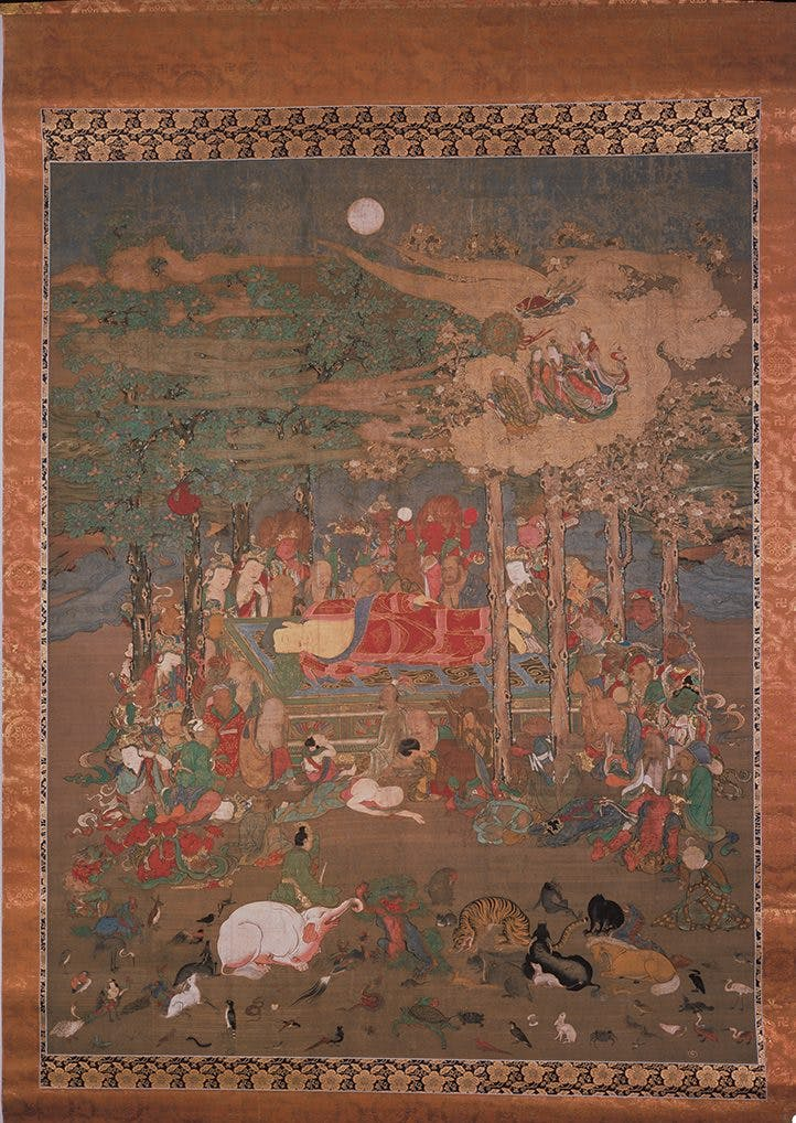 The Entry of the Buddha into Nirvana depicted on hanging scroll (1392).