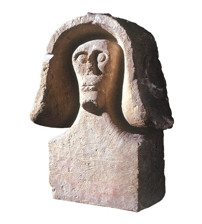 Bust of a man (7th–6th century BC), excavated in 1927 at Sainte-Anastasie, Gard. Musée de la Romanité, Nîmes