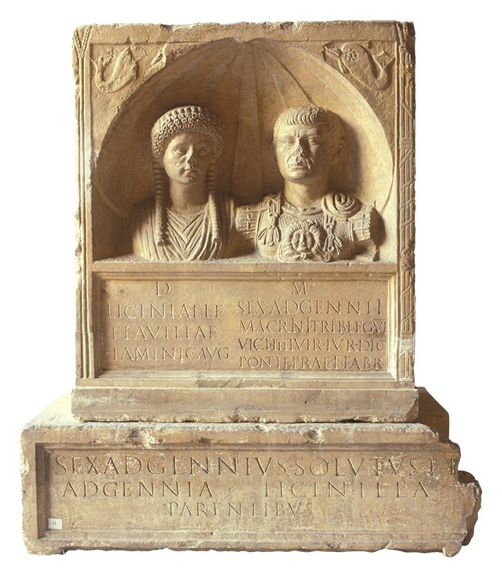 Funerary monument of Licinia Flavilla, priestess of the imperial cult, and her husband, Sextus Adgennius Macrinus (1st century AD), excavated in the 19th century on the Boulevard des Arènes. Musée de la Romanité, Nîmes