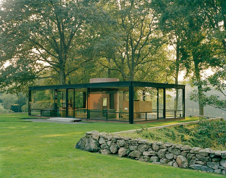 The Glass House in New Canaan, Connecticut, designed by Philip Johnson and completed in 1949. Photo: Eirik Johnson