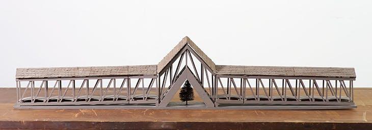 Model for Bridge over Tree (1970), Siah Armajani.