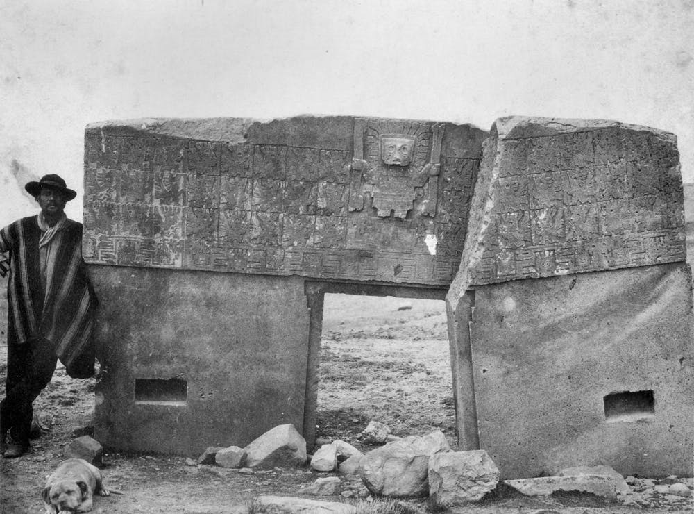 The geologist Alphons Stübel at the Gateway of the Sun, Tiwanaku in modern-day Bolivia (photo: Georges B. Von Grumbkow, 1877)