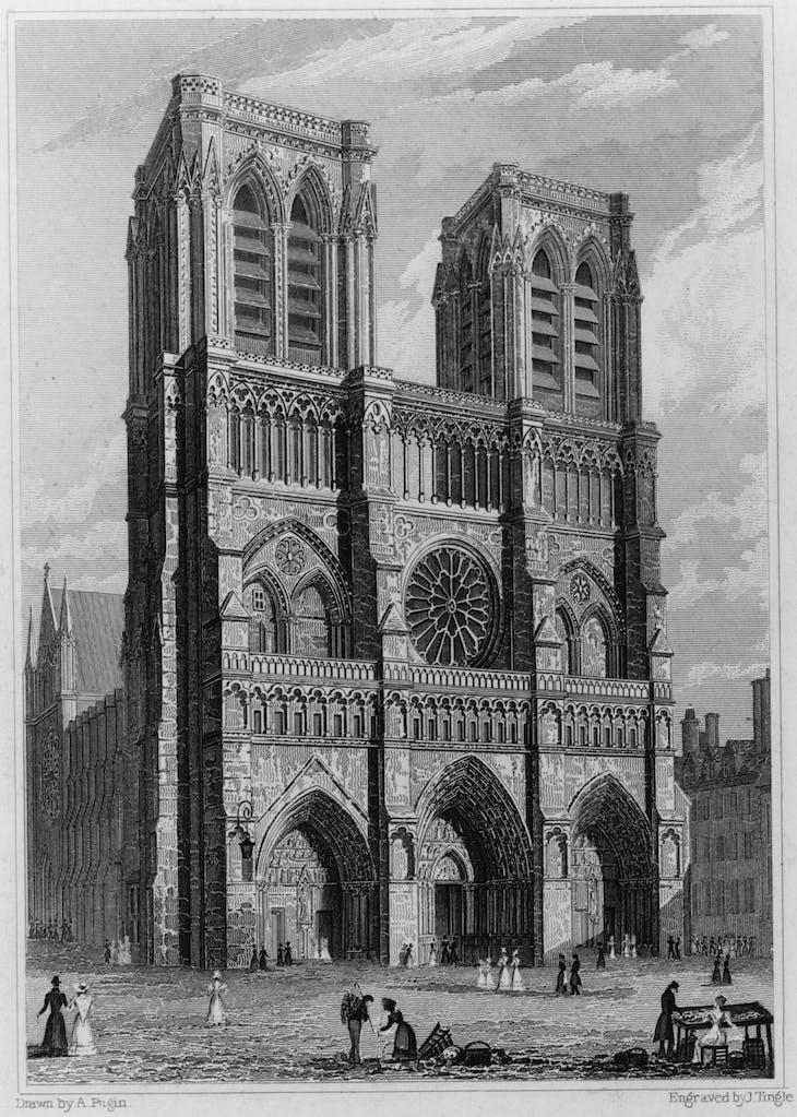 West Front of the Church of Notre Dame (1828), drawn by Augustus Pugin. engraved by James Tingle.