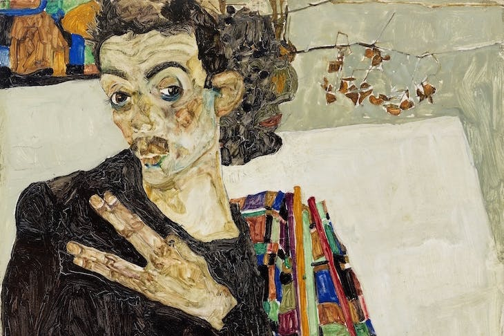 Self-portrait (detail; 1911), Egon Schiele.