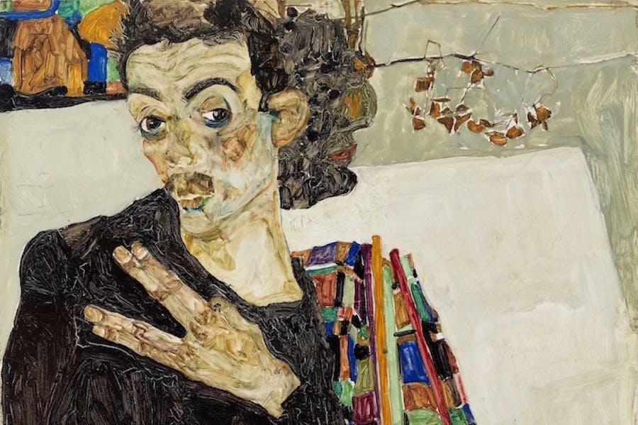 Self-portrait (detail; 1911), Egon Schiele.