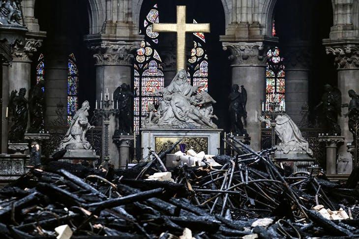 Nicolas Coustou's Pietà on the altar inside the Notre-Dame de Paris, photographed on 16 April 2019.