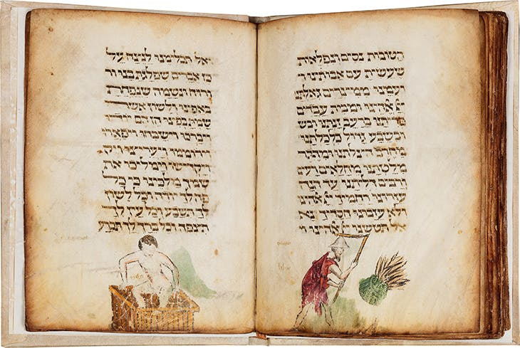Pages showing a naked man treading grapes in September (Tishrei) and a man threshing wheat in August (Elul), from the Labours of the Months section in the Lombard Haggadah (c. 1390–1400), circle of Giovannino de Grassi (Master of the Paris Tacuinum?), Milan