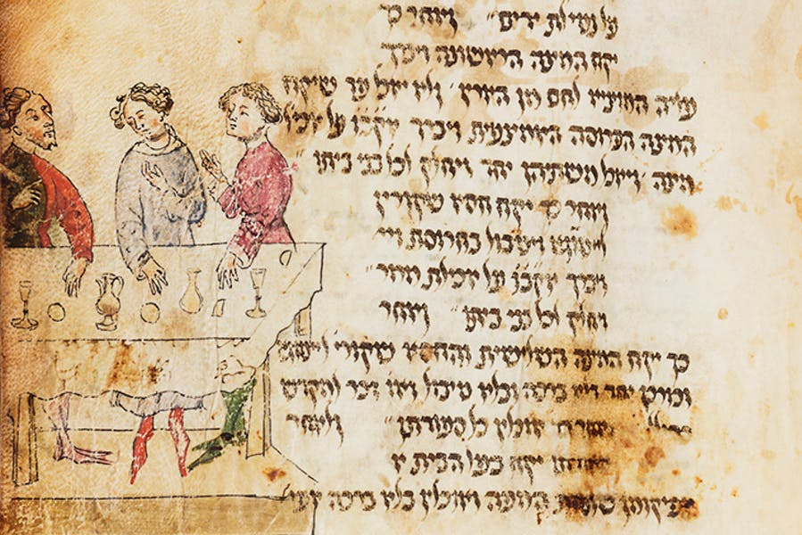 Detail showing three man at the Seder table, with wine glasses and mazzot, from the Lombard Haggadah (c. 1390–1400), circle of Giovannino de Grassi (Master of the Paris Tacuinum?), Milan