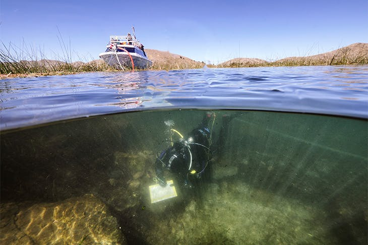 Archaeological excavations from an underwater ceremonial location near the Island of the Sun in Lake Titicaca, Bolivia.