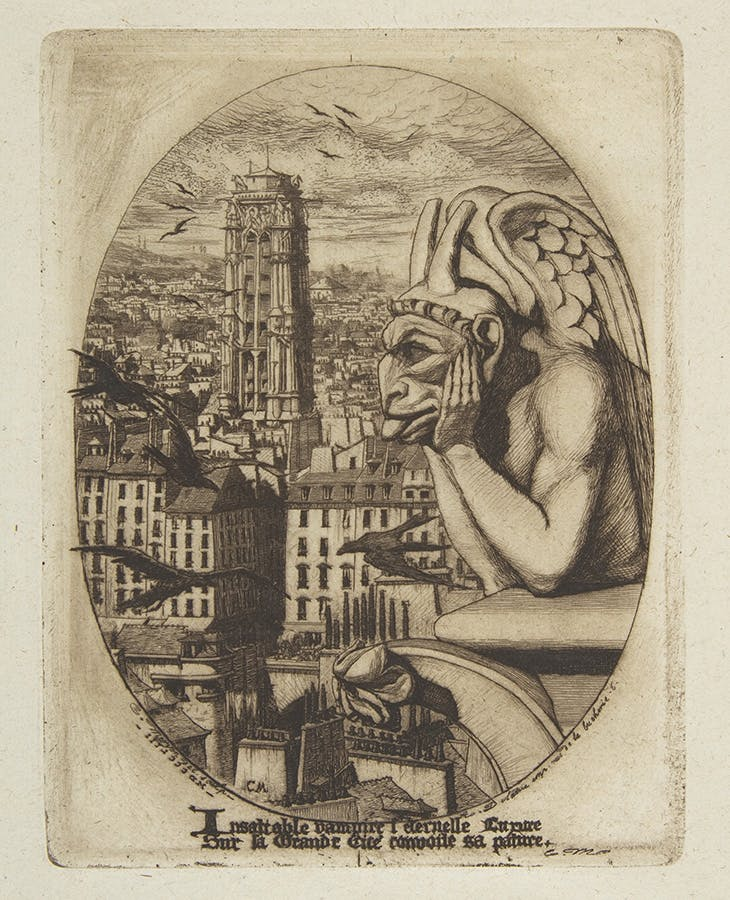 The Vampire (1853), Charles Meryon. From the album Eaux-Fortes sur Paris. Metropolitan Museum of Art, New York