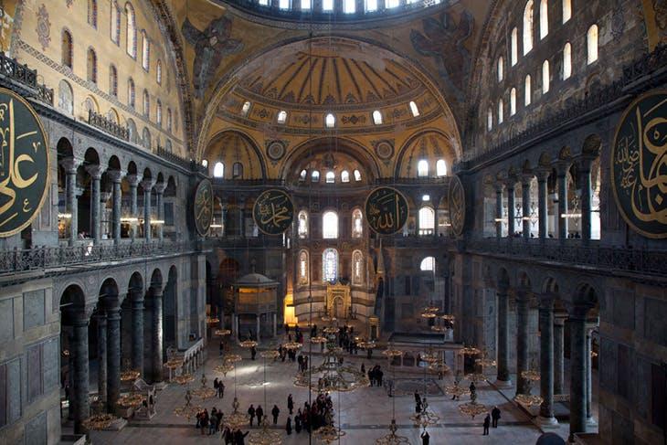 Inside the Hagia Sophia Museum in Istanbul.