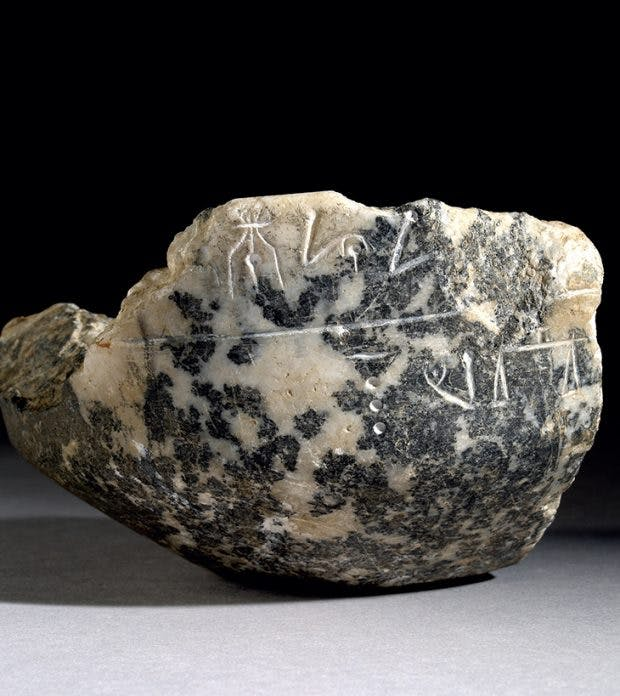 Minoan stone vessel with untranslated inscription in LInear A, c. 1800–c. 1450 BC, excavated by Arthur Evans in Knossos.