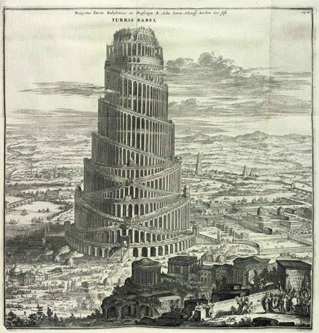 Engraving showing the Tower of Babel in Athanasius Kircher's eponymous book of 1679.