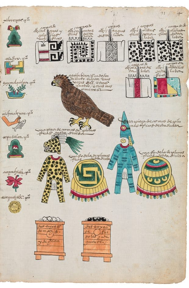 Page from the Codex Mexicana of c. 1541, a handbook created for Charles V, Holy Roman Emperor and king of Spain. Here, the Mexica picture writing shows the tribute seven towns owe their rules in Tenochtitlan. Image courtesy Bodleian Libraries, University of Oxford