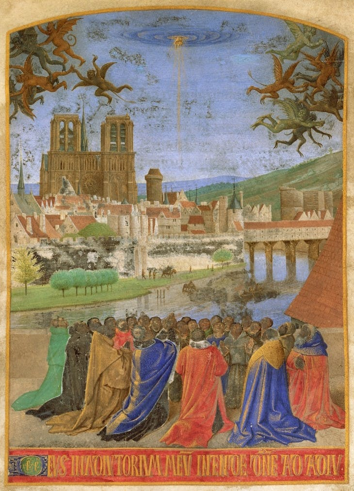 The Right Hand of God Protecting the Faithful against the Demons (c. 1452–60), Jean Fouquet