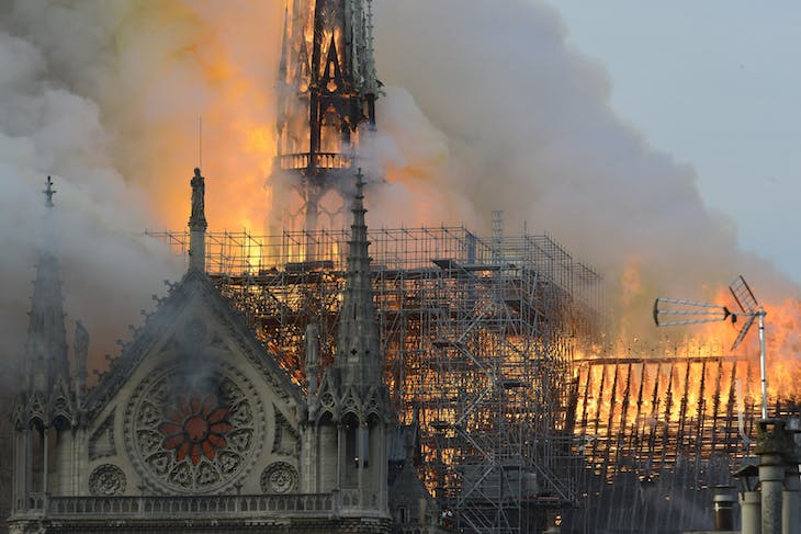 Notre-Dame Cathedral on fire, 15 April 2019.