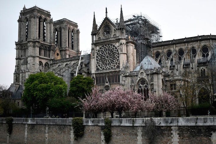 Notre-Dame Cathedral in Paris, early on April 16, 2019.