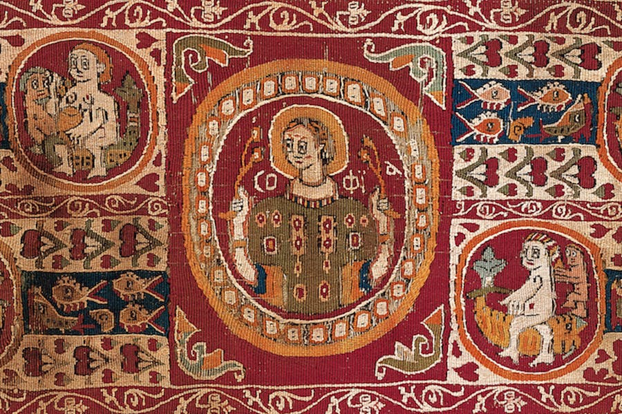 Tapestry sleeve ornament (detail; 7th–9th century) Egypt.