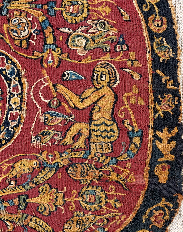 Detail of a round ornament with fisherman (7th–8th century), Egypt.