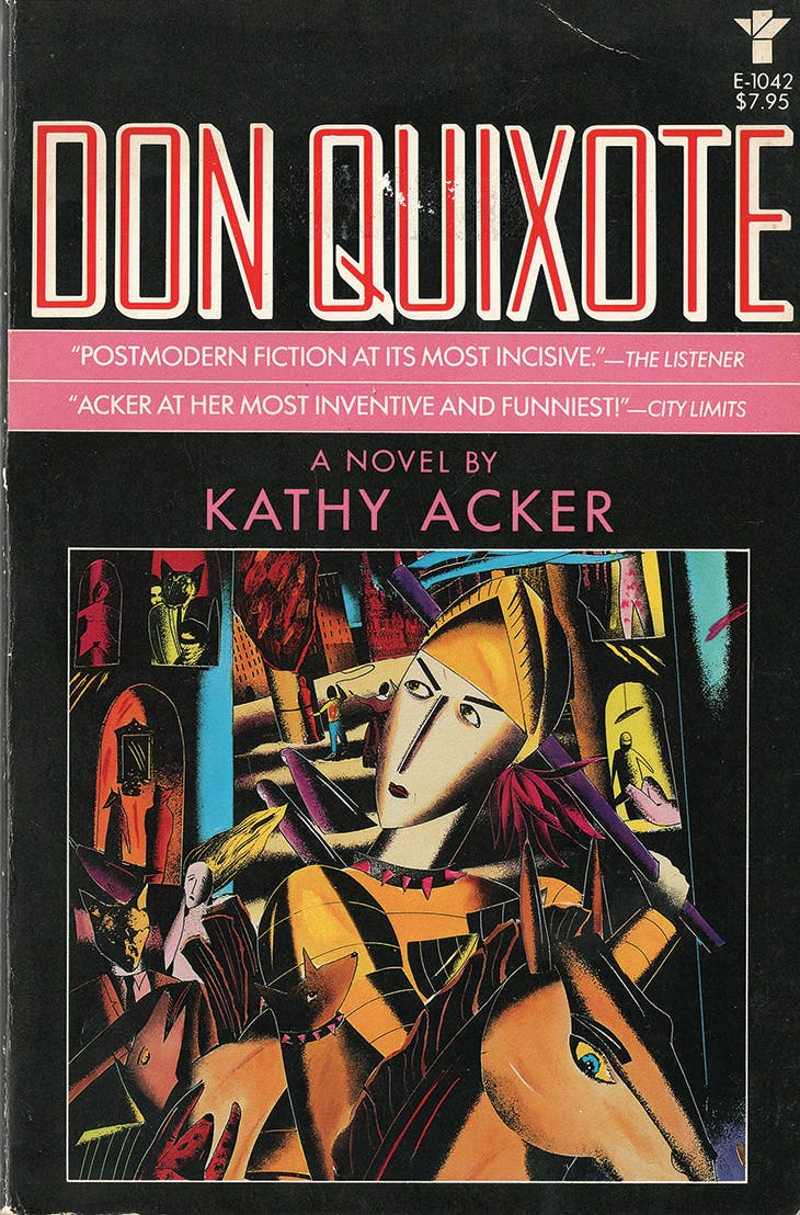 Front cover of the first edition of Kathy Acker's Don Quixote, published by Grove Press, New York in 1986.