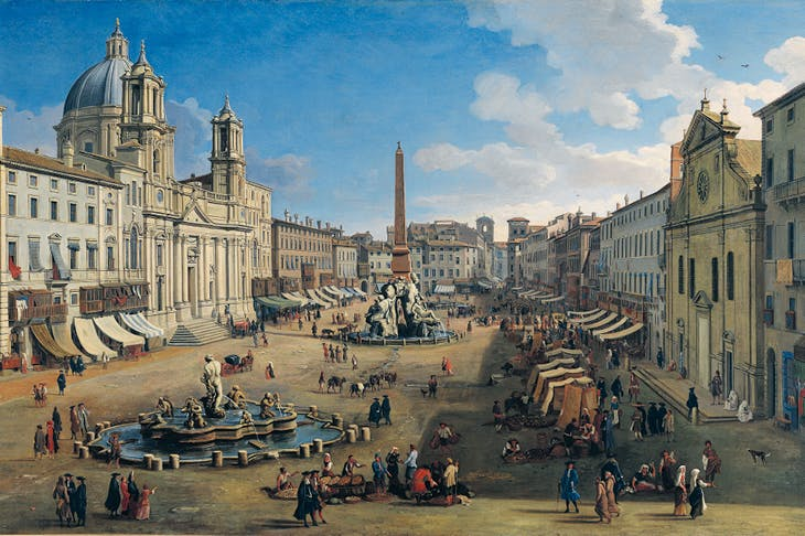 Piazza Navona (detail; 1699), Caspar van Wittel. Carmen Thyssen-Bornemisza Collection, on loan to the Museo Nacional Thyssen-Bornemisza, Madrid