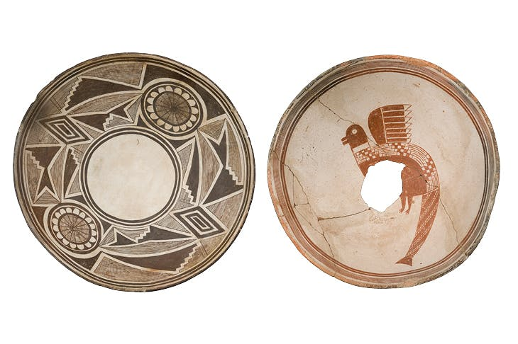 Left: Painted bowl with geometric design and possible flower images, Classic Mimbres period (1000–1130), New Mexico. Right: Painted bowl with composite animal figure, Classic Mimbres period (1000–1130).