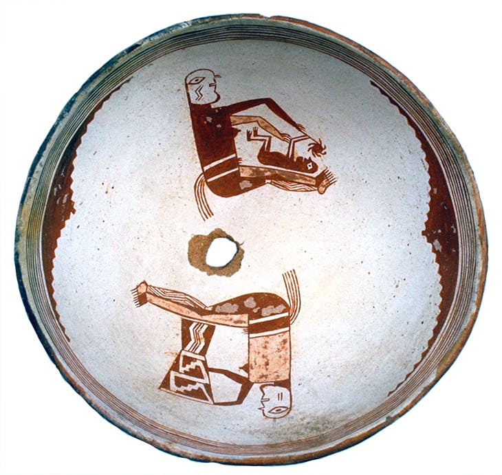 Painted bowl depicting two women with children (with a very rarely used tan second colour paint), Classic Mimbres period (1000–1130), New Mexico.