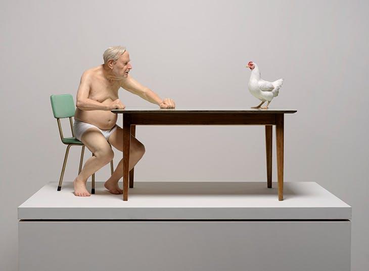 chicken / man (2019), Ron Mueck. Christchurch Art Gallery Te Puna o Waiwhetū.