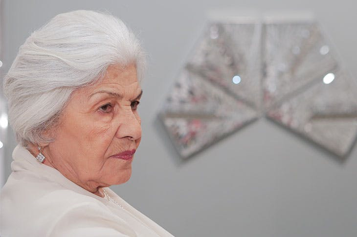 Monir Shahroudy Farmanfarmaian at the opening of her exhibition at The Third Line, Dubai, in March 2013.