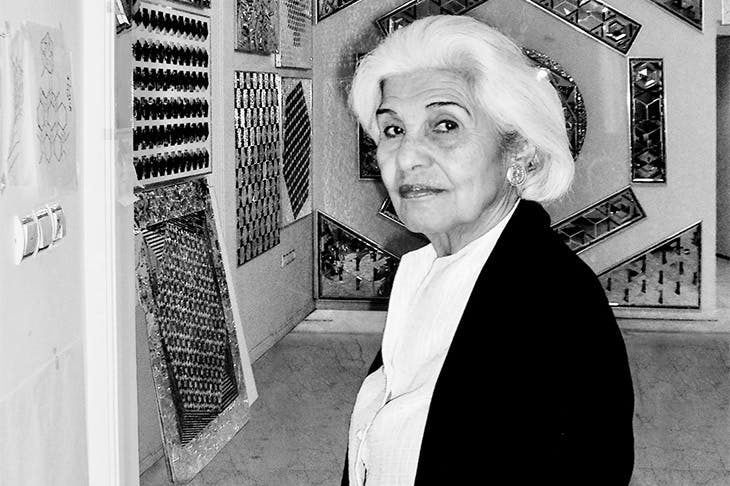 Monir Shahroudy Farmanfarmaian in her studio in Tehran.