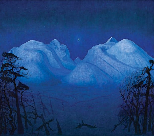 Winter Night in the Mountains (1914), Harald Sohlberg. National Museum of Art, Architecture and Design, Oslo
