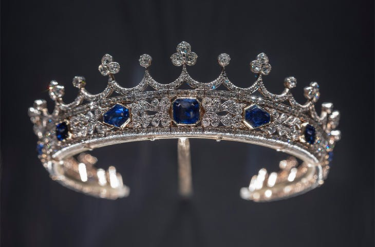 Queen Victoria's sapphire and diamond coronet (1840–42), designed by Prince Albert, made by Joseph Kitching, London.