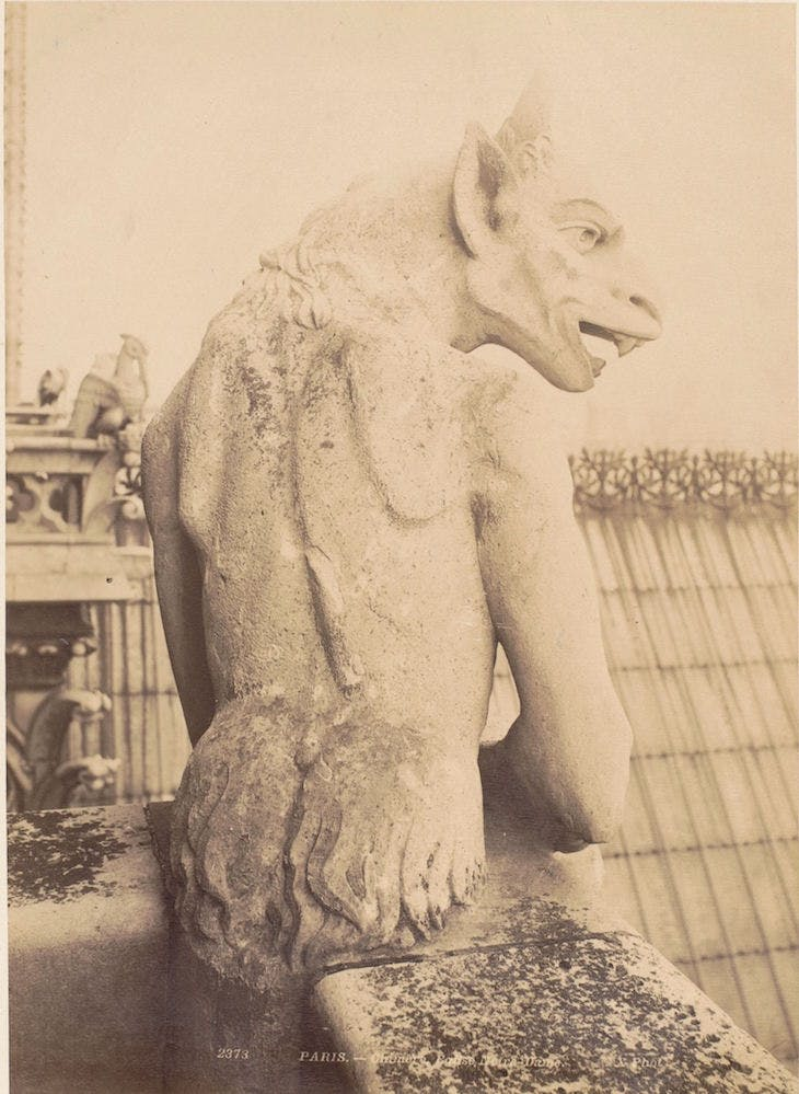 Sculpture of a gargoyle at Notre-Dame in Paris (c. 1875–1900), anonymous.