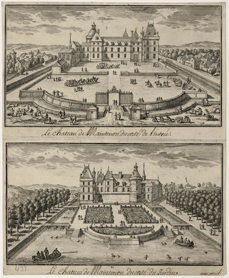 17th-century engraving showing the Château de Maintenon from the entrance and from the garden