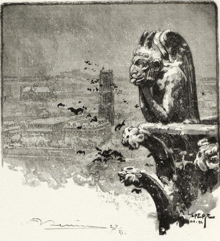 The Vampire of Notre-Dame, plate nine from Le Long de la Seine et des Boulevards (1890/1910), Louis Auguste Lepère, published by A. Desmoulins.