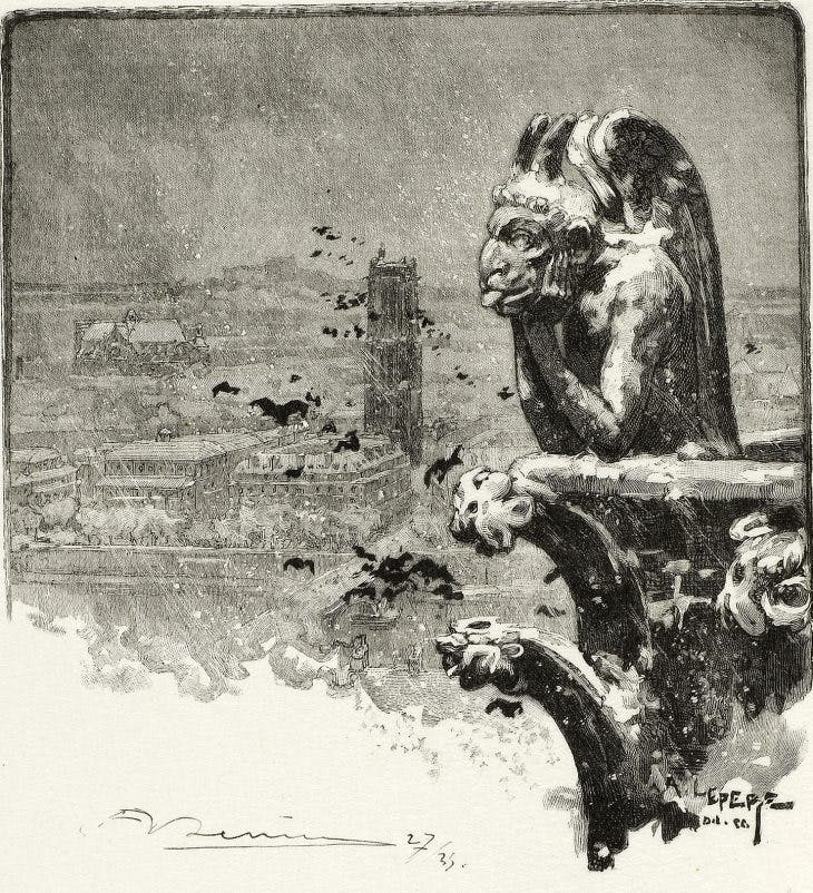 The Vampire of Notre-Dame, plate nine from Le Long de la Seine et des Boulevards (1890/1910), Louis Auguste Lepère, published by A. Desmoulins.