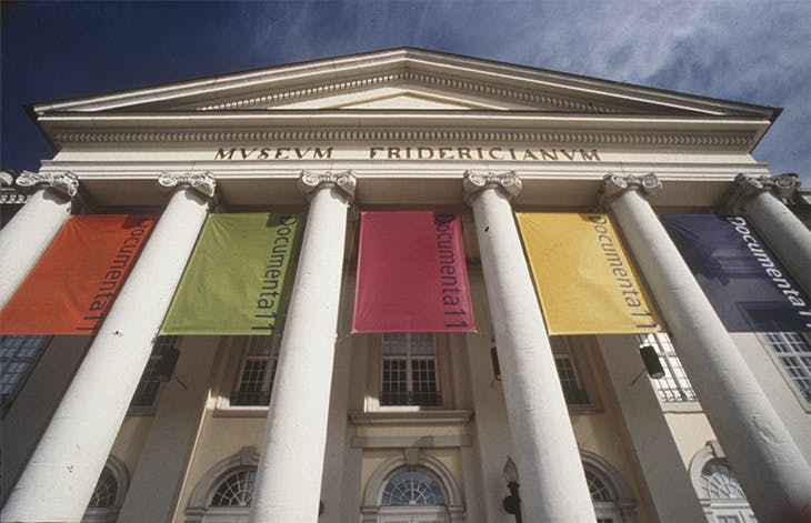 The main entrance to the Museum Fridericianum during Documenta 11 (2002).