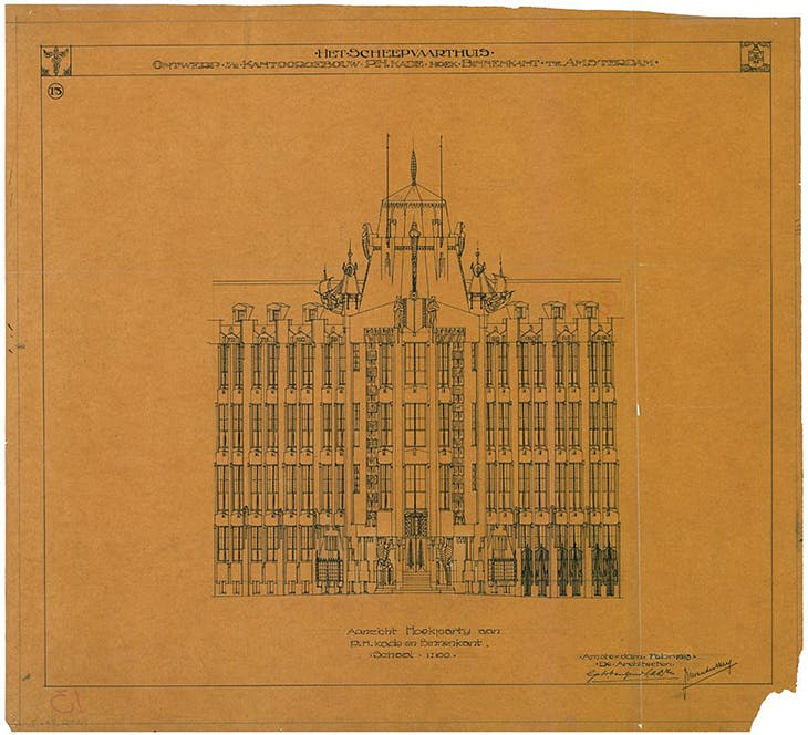 Design for Het Scheepvaarthuis ('The Shipping House'), designed by Joan van der May and others and built in 1913–16. Courtesy Het Nieuwe Instituut, Rotterdam