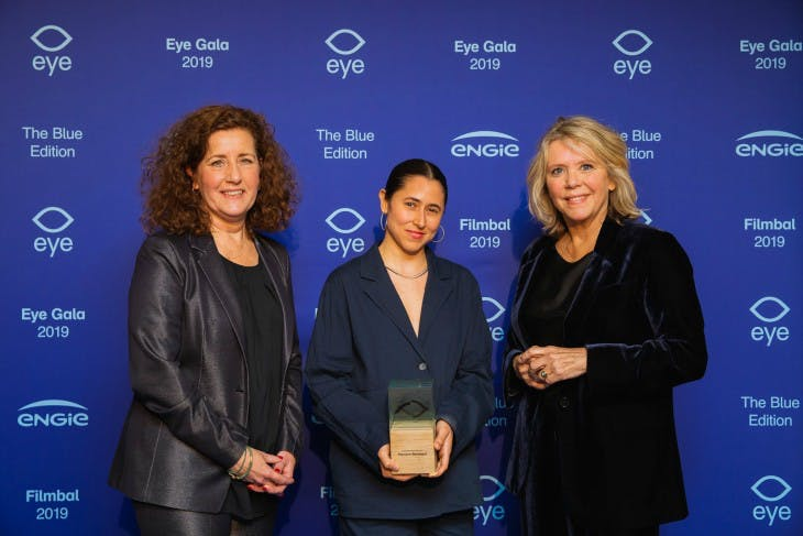 Ingrid van Engelshoven (Minister of Education, Culture and Science) with Meriem Bennani (Winner Art & Film Prize 2019) and Sandra den Hamer (Director Eye) during the Eye Film gala 2019