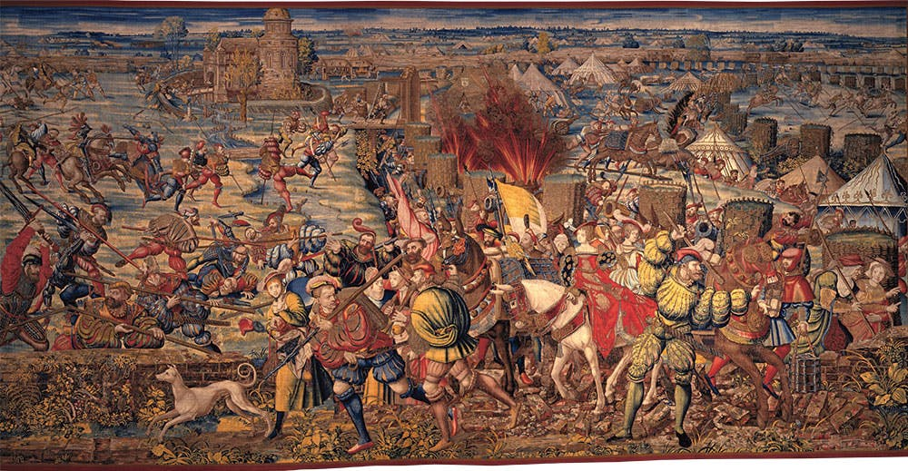 The Attack on the French Camp and the Flight of the Besieged from the Battle of Pavia series (1525–31), Dermoyen workshop, after a design by Bernard van Orley. Museo e Real Bosco di Capodimonte, Naples
