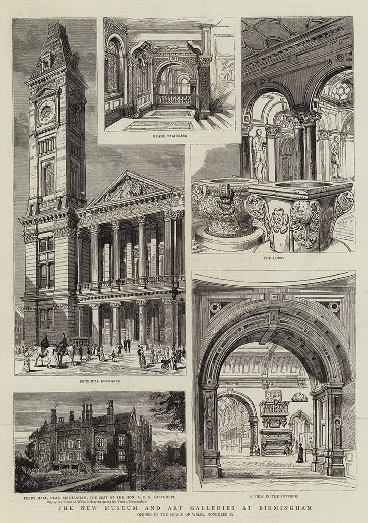Illustrations of 'The New Museum and Art Galleries at Birmingham', published in The Graphic on the day of their opening by the Prince of Wales, 28 November, 1885
