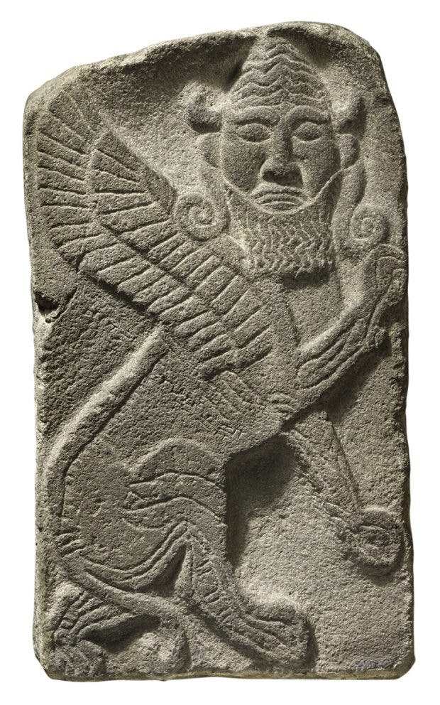 Funerary stele of Si Gabbor, priest of the moon god, early 7th century BC, Neo-Hittite, Neirab, Syria, Musée du Louvre, Paris