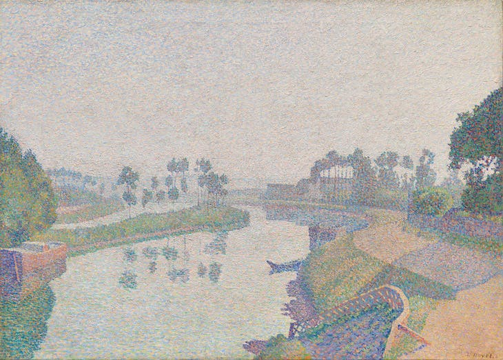 Banks of the Oise at Dawn (1888), Louis Hayet.