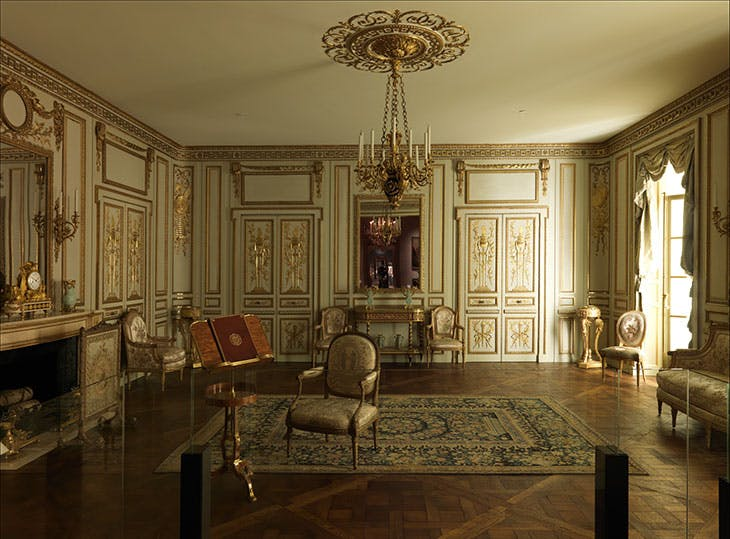 Boiserie from the Hôtel de Cabris, Grasse (c. 1774). View towards the south wall of the reconstructed room at the Metropolitan Museum of Art in New York