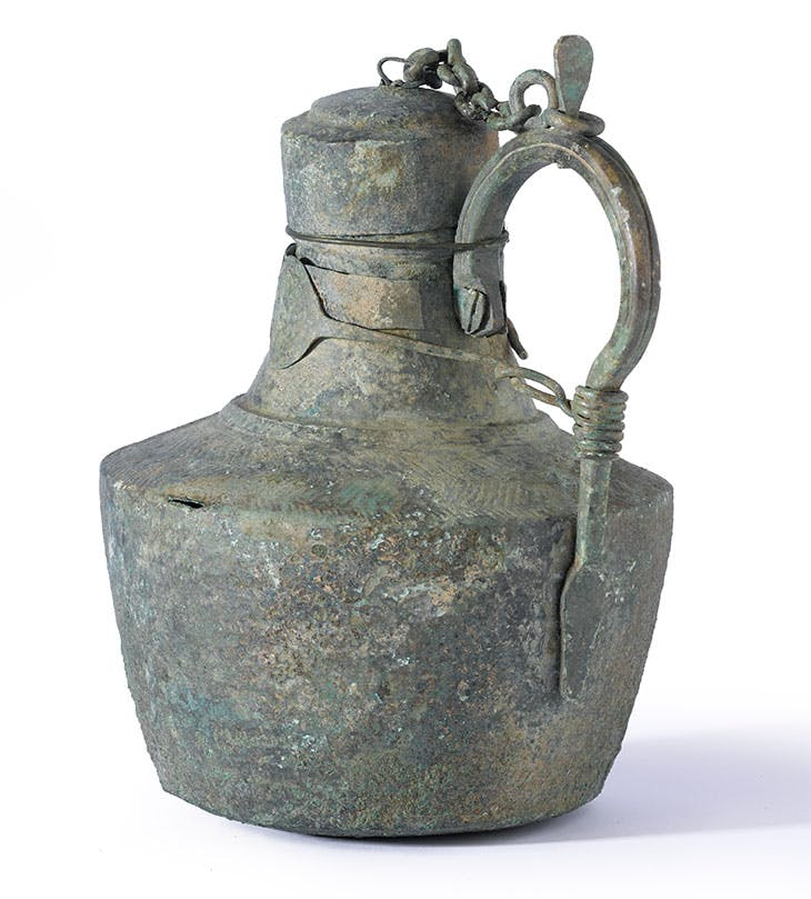 Copper alloy flagon made in the eastern Mediterranean, probably Syria.