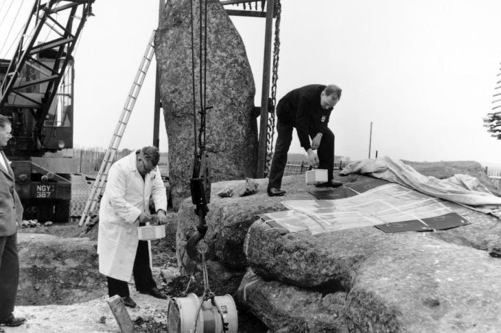 Archaeological excavations at Stonehenge in 1958.