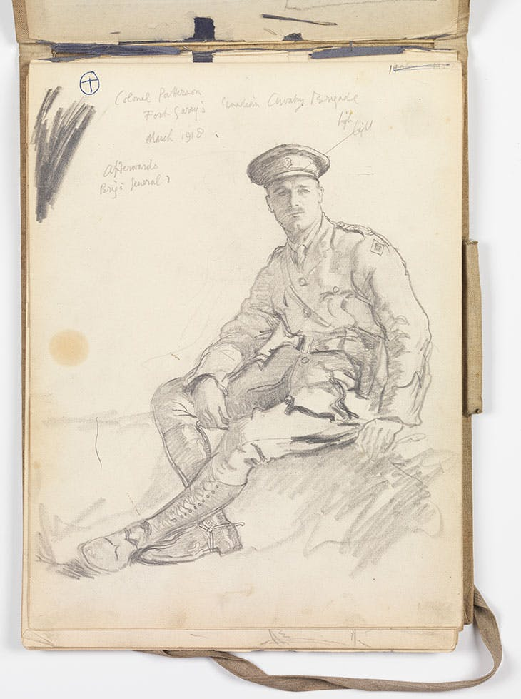 Colonel Patterson, Fort Garry's Canadian Cavalry Brigade, March 1918, afterwards Brig'd General (page from a sketchbook; 1918), Alfred Munnings.